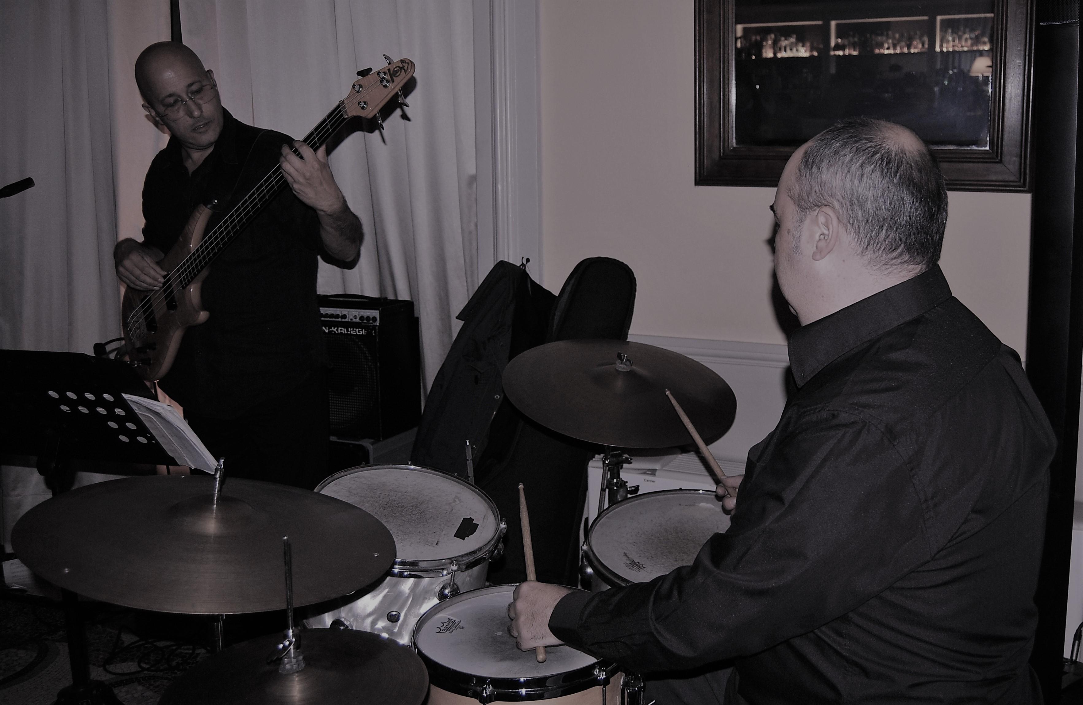 Left to Right, Nicola Pisano and Michele Piemontese at Jazz on the wather, Como Italy